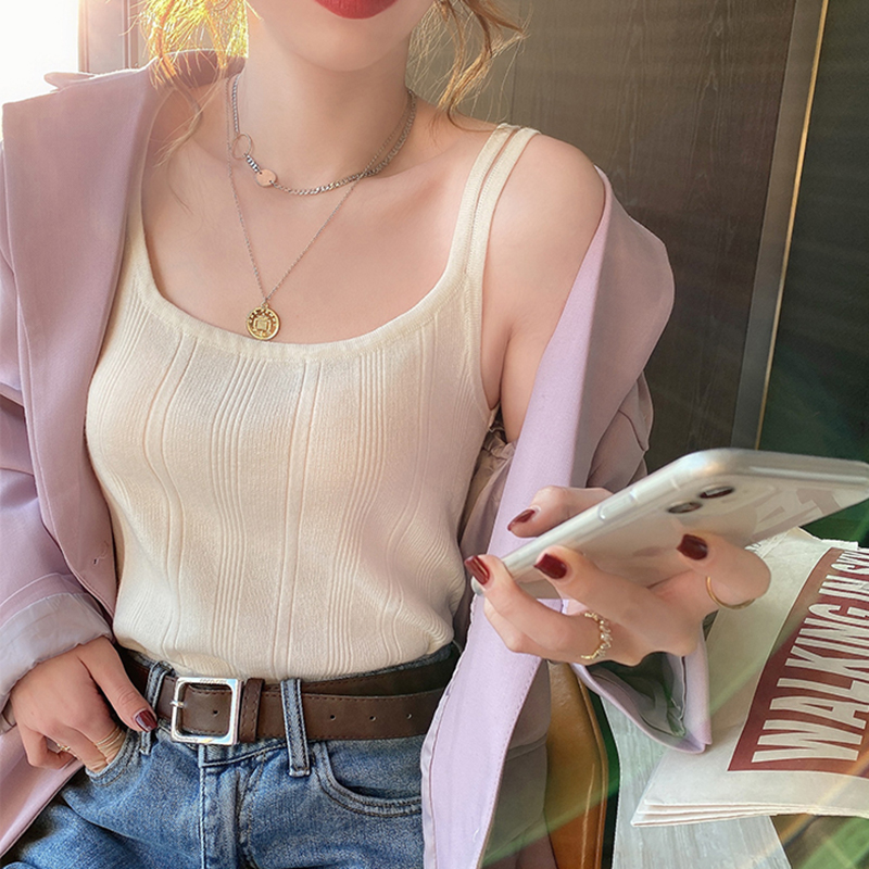 Knitted Halter Sexy Camisole Top 2021 Summer Women Sexy off-