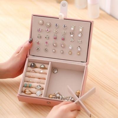 耳环简约小盒子收纳项链便携耳坠手饰品盒女首饰盒耳钉耳饰盒旅行