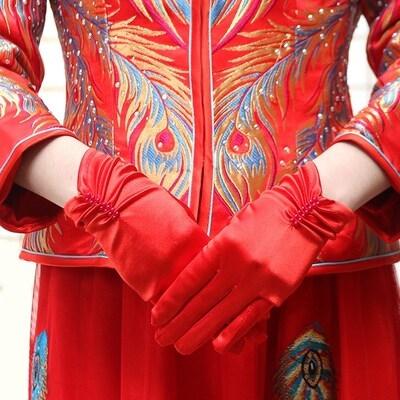 结婚新娘专用婚纱手套蕾丝红色白色结婚手套婚庆婚礼喜庆手套新款