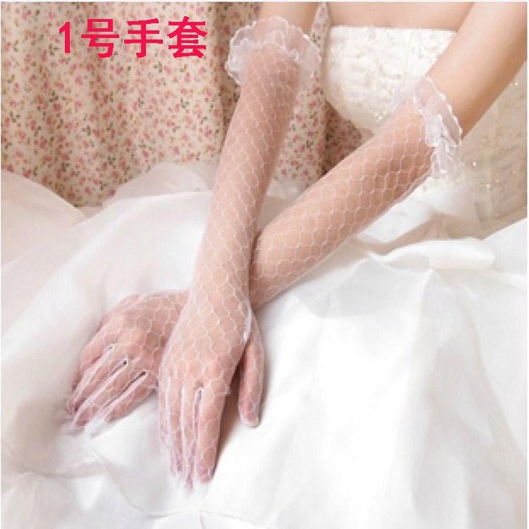 中国头纱短款红色手套韩式白色手套蕾丝婚礼礼服2018新娘结婚婚纱