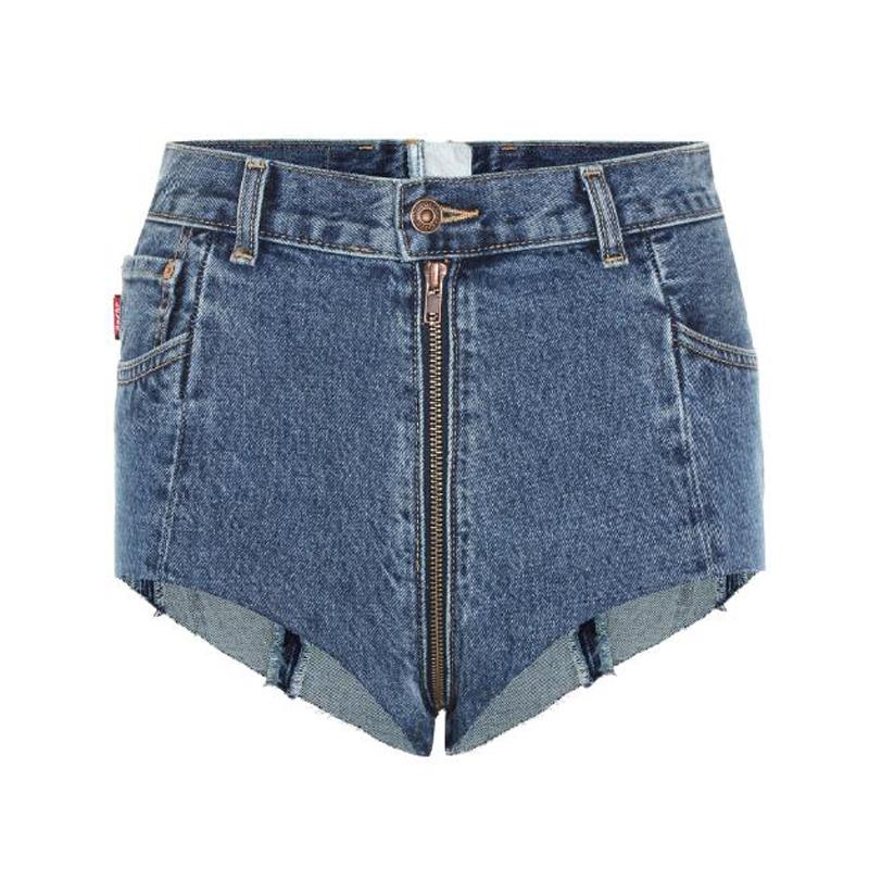 个性牛仔短裤2017夏全维拉链短裤毛边流苏热裤前后拉Z链超短裤女