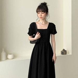 法式桔梗复古黑色连衣裙