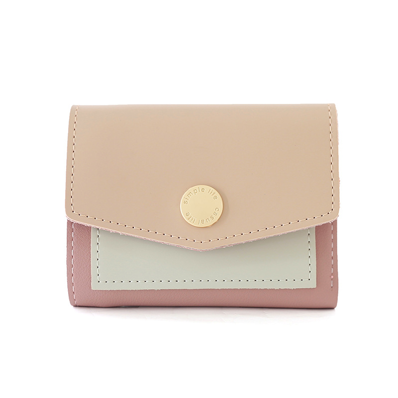 Womens 3 fold metal decorative buckle two color horizontal wallet for young students in Europe and America spring 2021
