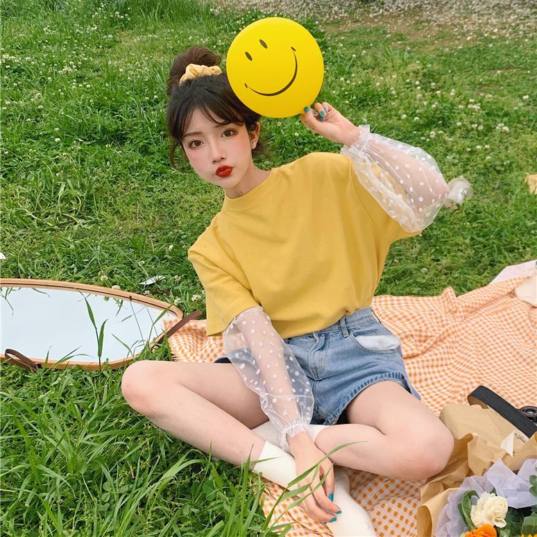 假两件小雏菊网纱短袖T恤女学生夏季韩版2020新款宽松ins防晒上衣