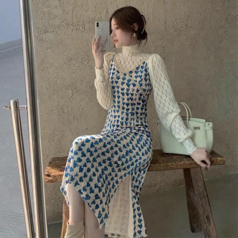 名媛穿搭吊带连衣裙子ins超仙显瘦套装女秋两件套洋气打底衫百搭