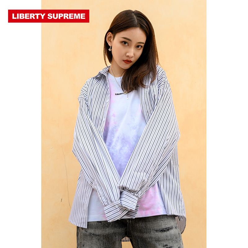Liberty supreme fashion trend Korean stripe letter printed long sleeve shirt loose and versatile new style