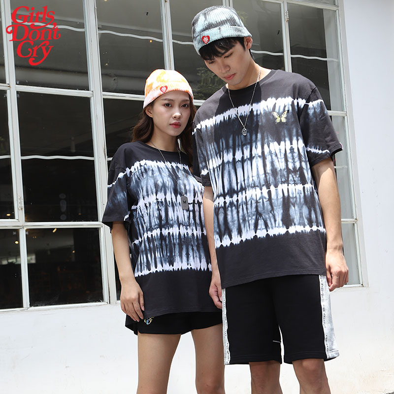 Girls dont cry new ins fashion tie dye stripe youth versatile T-shirt hip hop short sleeve bottomed shirt