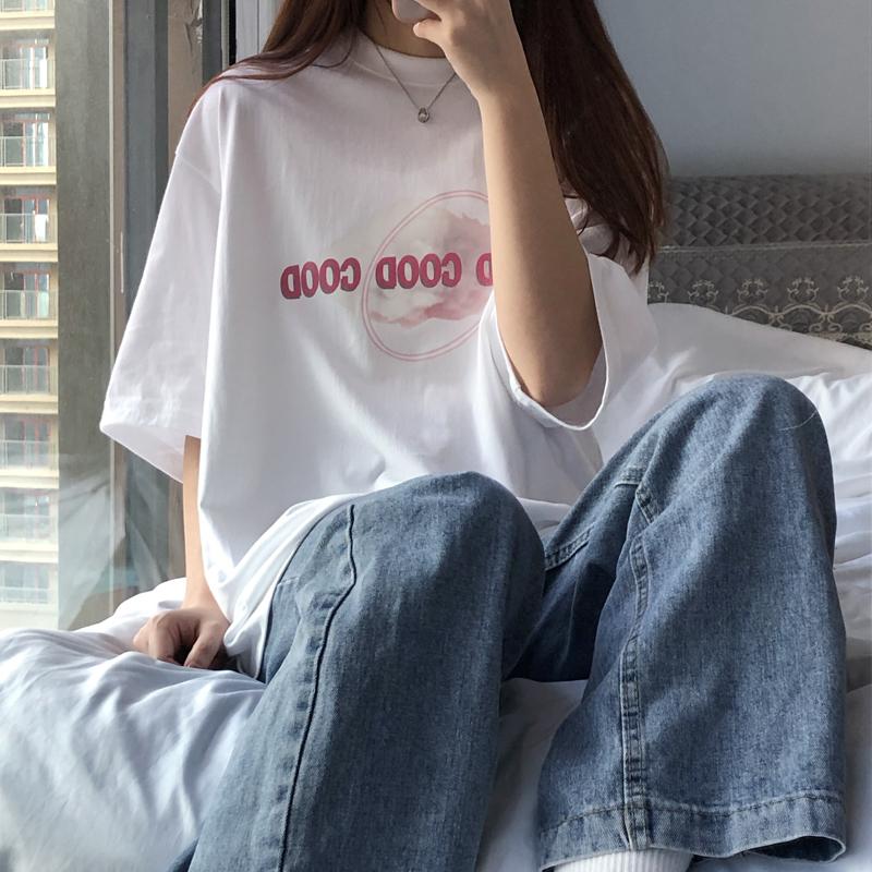 中國代購 中國批發-ibuy99 T恤女 2021新款夏季韩版港味ins少女感纯棉短袖t恤潮宽松bf百搭半袖上衣
