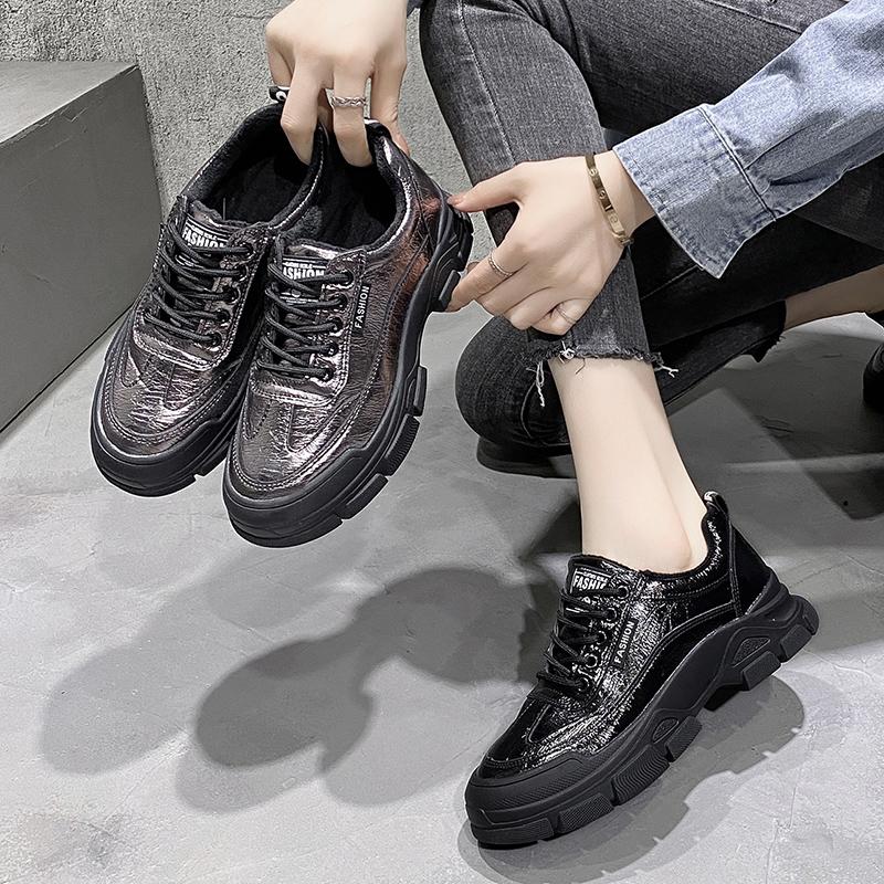 2021春秋季新款韩版漆皮黑色皮鞋运动鞋老爹鞋女士厚底松糕鞋女鞋
