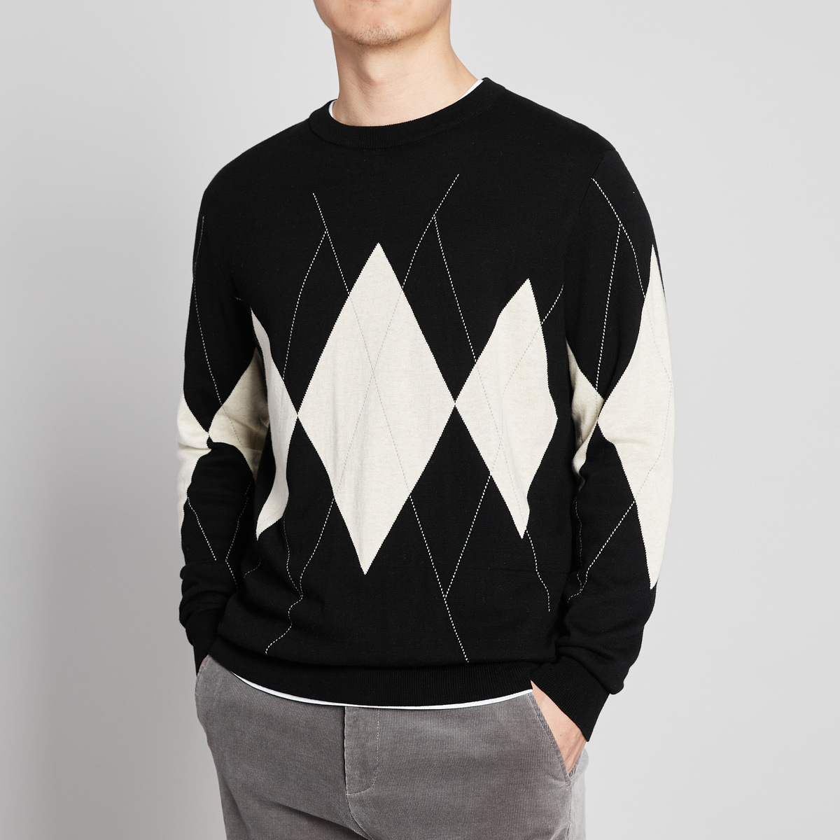 Autumn 2020 mens round neck knitwear micro drop shoulder diamond lattice jacquard sweater casual mens top 2392