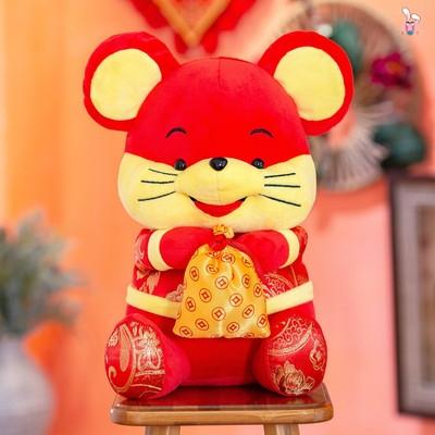 字鼠公仔年会送福鼠年娃娃福鼠玩具生肖福字公司吉祥礼品布娃毛。