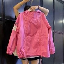 韩国2021秋新款玫红双拉链日式大码外套女欧货洋气休闲风衣潮卫衣