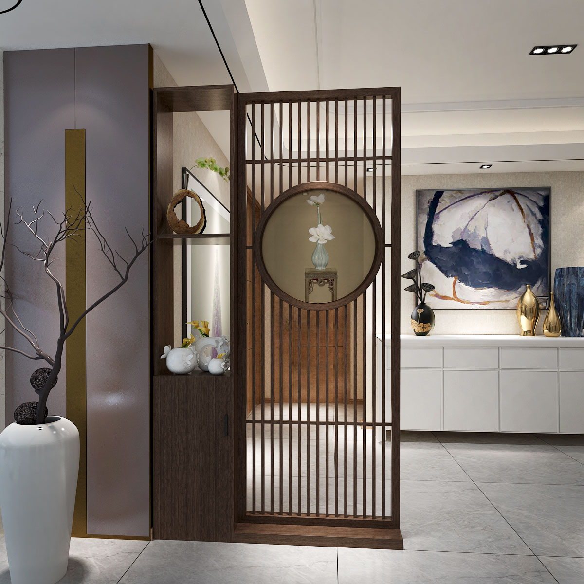 Modern new Chinese solid wood screen partition wall living room entrance porch block bedroom unit storage decoration seat screen