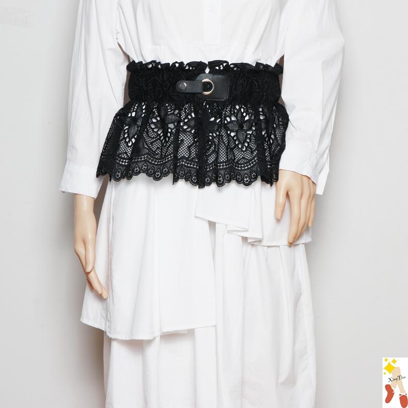 女连衣裙封时尚腰带蕾丝花边配布料宽腰带系裙子装饰束腰t恤百搭