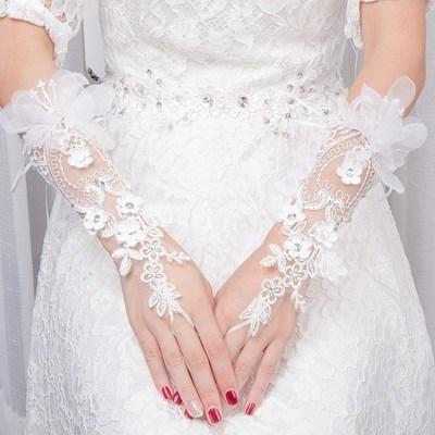 Wedding Dress Satin Long Wedding Gloves Wedding Lace short big red soft thin white wedding.