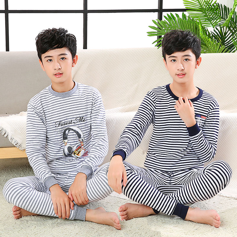 Zhenjing youth underwear set pure cotton middle school children autumn clothes autumn trousers Boys High low collar autumn winter pajamas cotton sweater