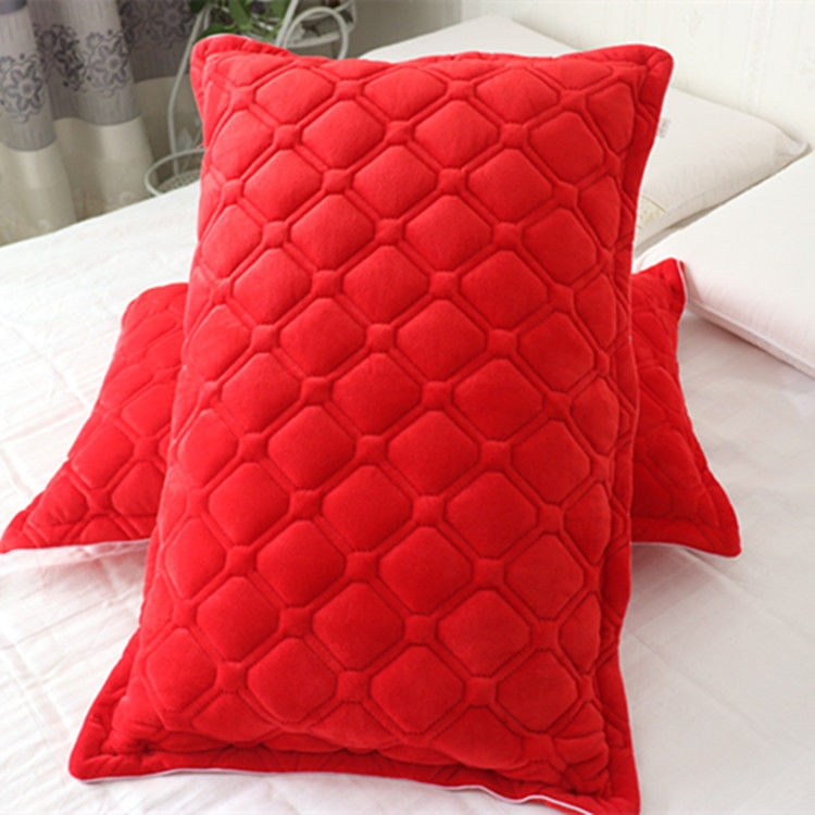 Thickened pillow case with flannel cotton crystal suede double single plush short pillow case a pair of warm autumn and winter clothes