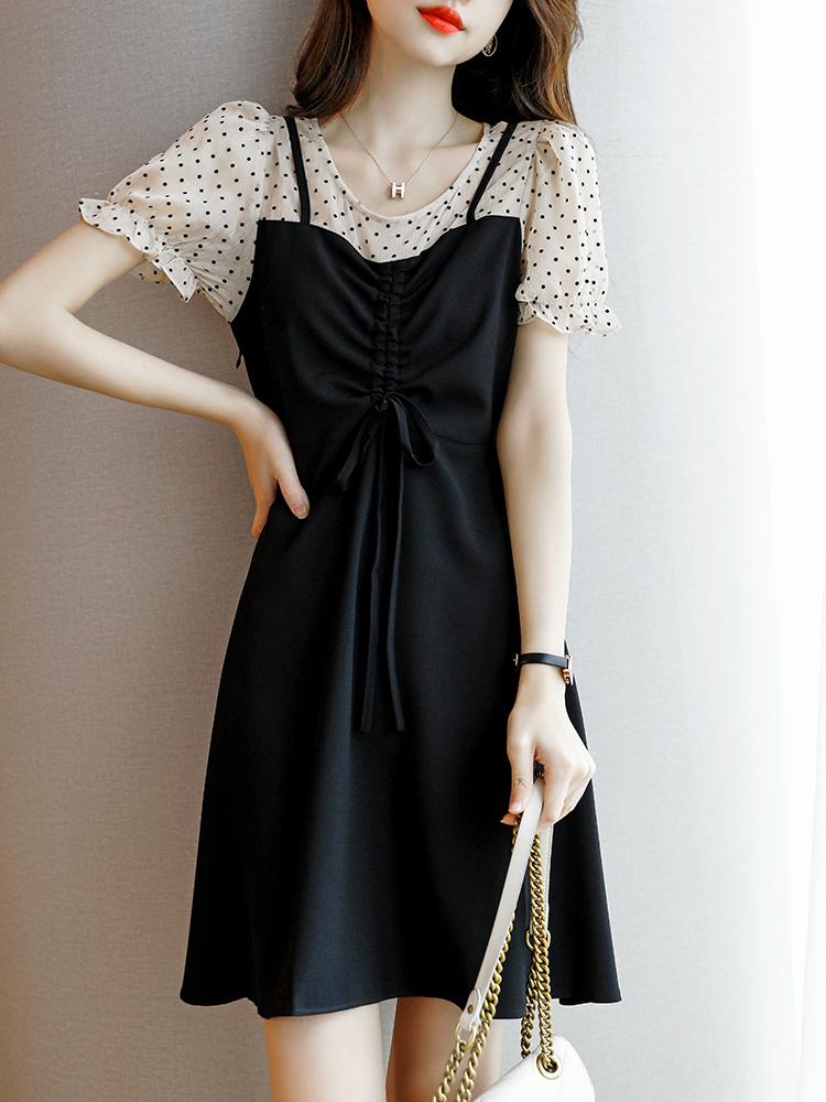 慕言缇2021夏季新款轻奢气质假两件波点雪纺短袖a字连衣裙女薄款