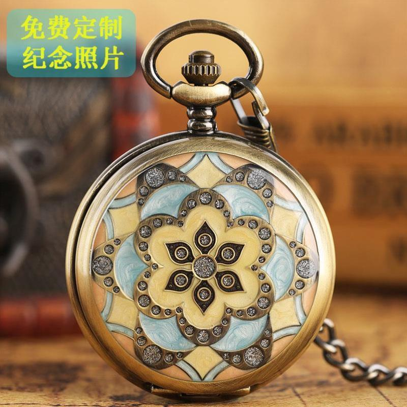 Pocket watch womens retro style flip cover with Photo Pendant digital watch for collection Valentines Day gift Mechanical Pocket Watch