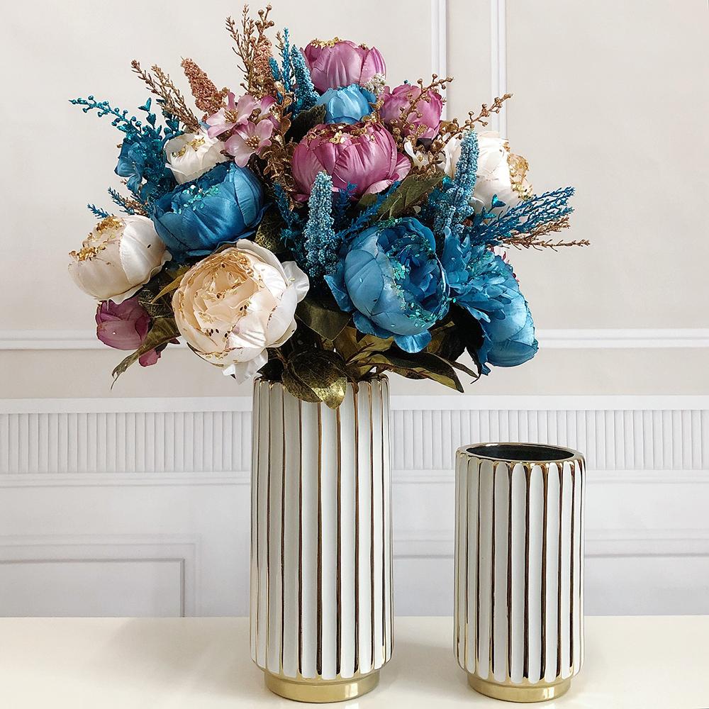 。仿真花欧式富贵牡丹花束假花家居客厅装饰品插花卉塑料人造花干