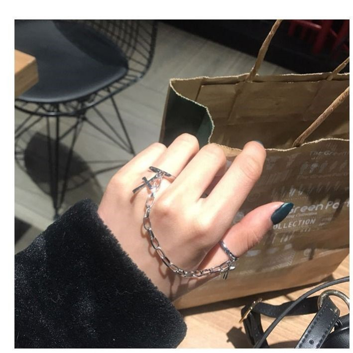 Korean version ins personalized ring chain adjustable joint ring mens and womens hip hop nightclub Gothic clothing accessories trend