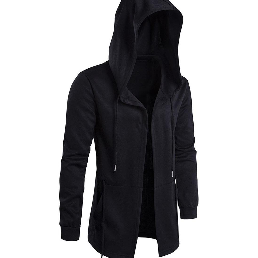 Mens windbreaker mens medium length Cape wizards Cape Hooded Coat mens jacket