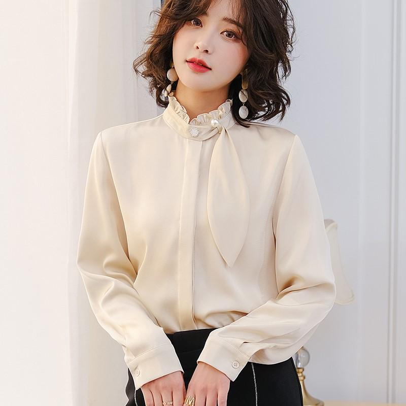 萱伊娜衬衫女2021春装新款仿醋酸雪纺上衣设计感小众洋气职业衬衣
