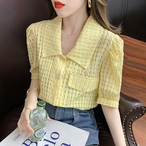 夏季新款娃娃领雪纺复古泡泡衬衫