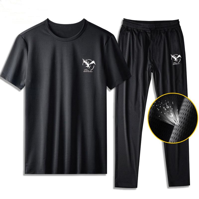 冰丝网眼速干运动服套装夏男士T恤短袖短裤休闲套装一套衣服男鞋