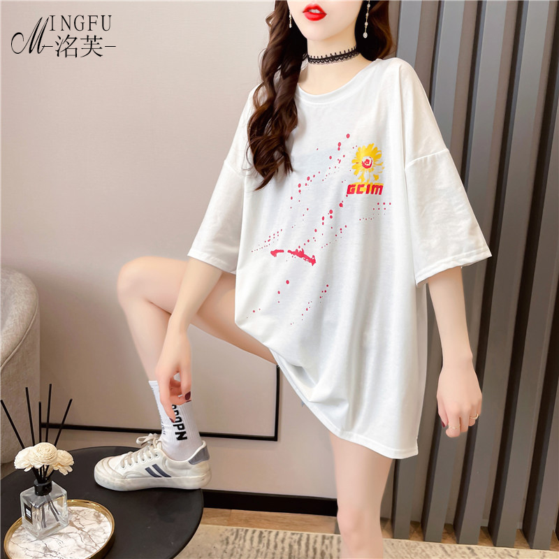 White short sleeve T-shirt womens loose 2021 new summer European large belly covering medium and long half sleeve top
