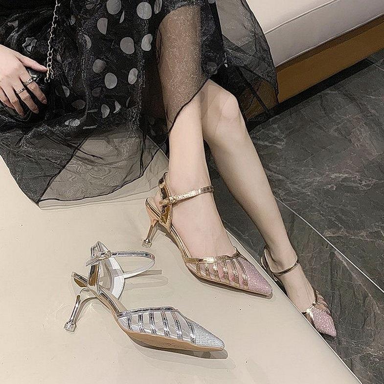 女神感女式新款凉鞋小众晚装范气质高跟时装2020清新宴会高跟鞋设