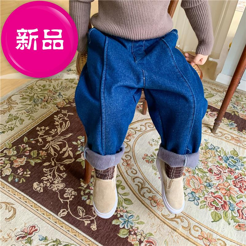 Korean childrens solid color thickened casual pants friends winter boys and girls Plush jeans milot7c homemade mini pants