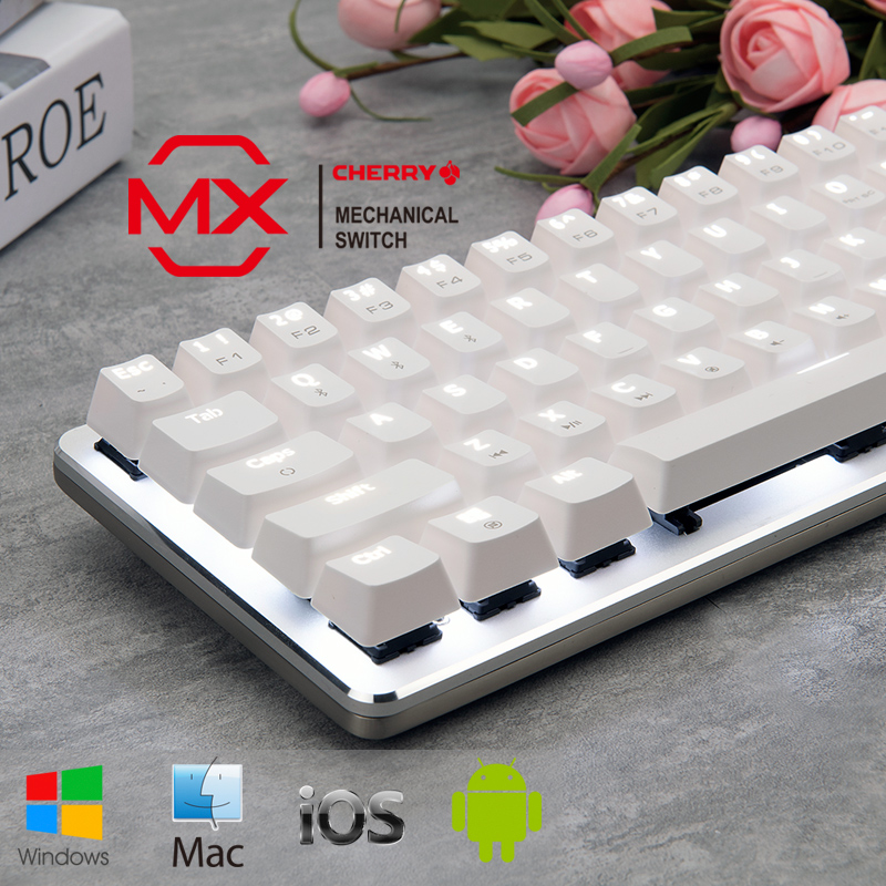 黑爵樱桃蓝牙机械键盘青轴黑轴无线双模安卓手机苹果ipad平板MAC