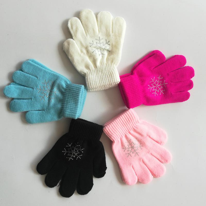 花样滑冰手套儿童护手女孩保暖手掌溜冰专用彩色多种颜色烫钻手套