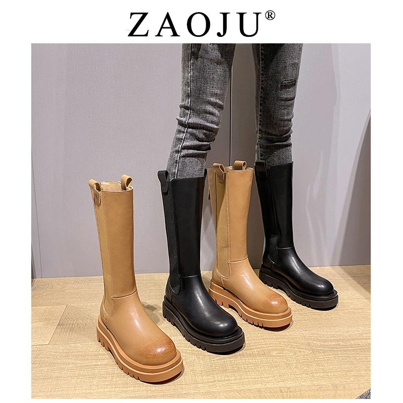 棕色长靴女2021年新款瘦瘦靴bv长筒靴高筒厚底平底显瘦加绒网红潮