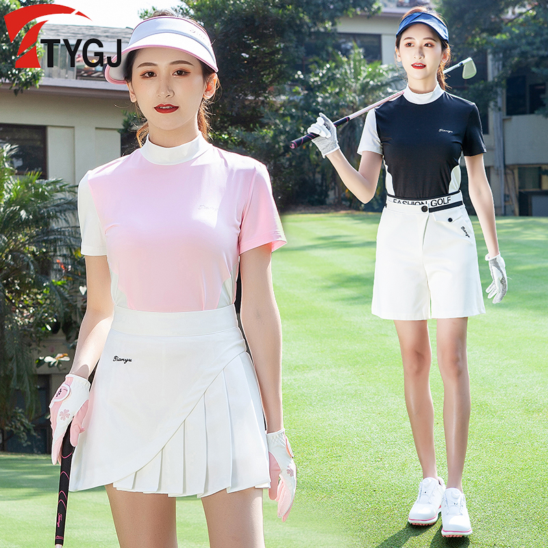 Golf clothing womens short sleeve T-shirt summer sunscreen half high collar color matching thin sports ball clothing