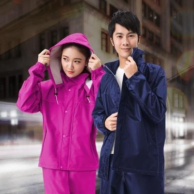 Double layer raincoat suit adult thickened waterproof electric car mens and womens coat body split summer breathable rain pants.