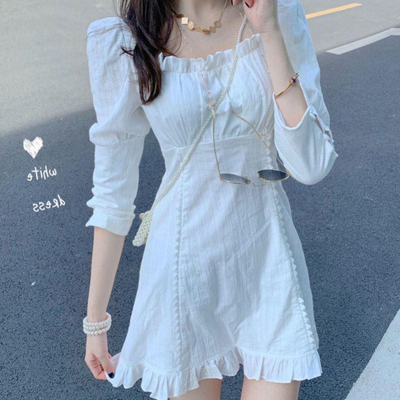 中國代購|中國批發-ibuy99|短裙|白色连衣裙女夏季小个子甜美气质内搭方领收腰荷叶边高腰a字短裙