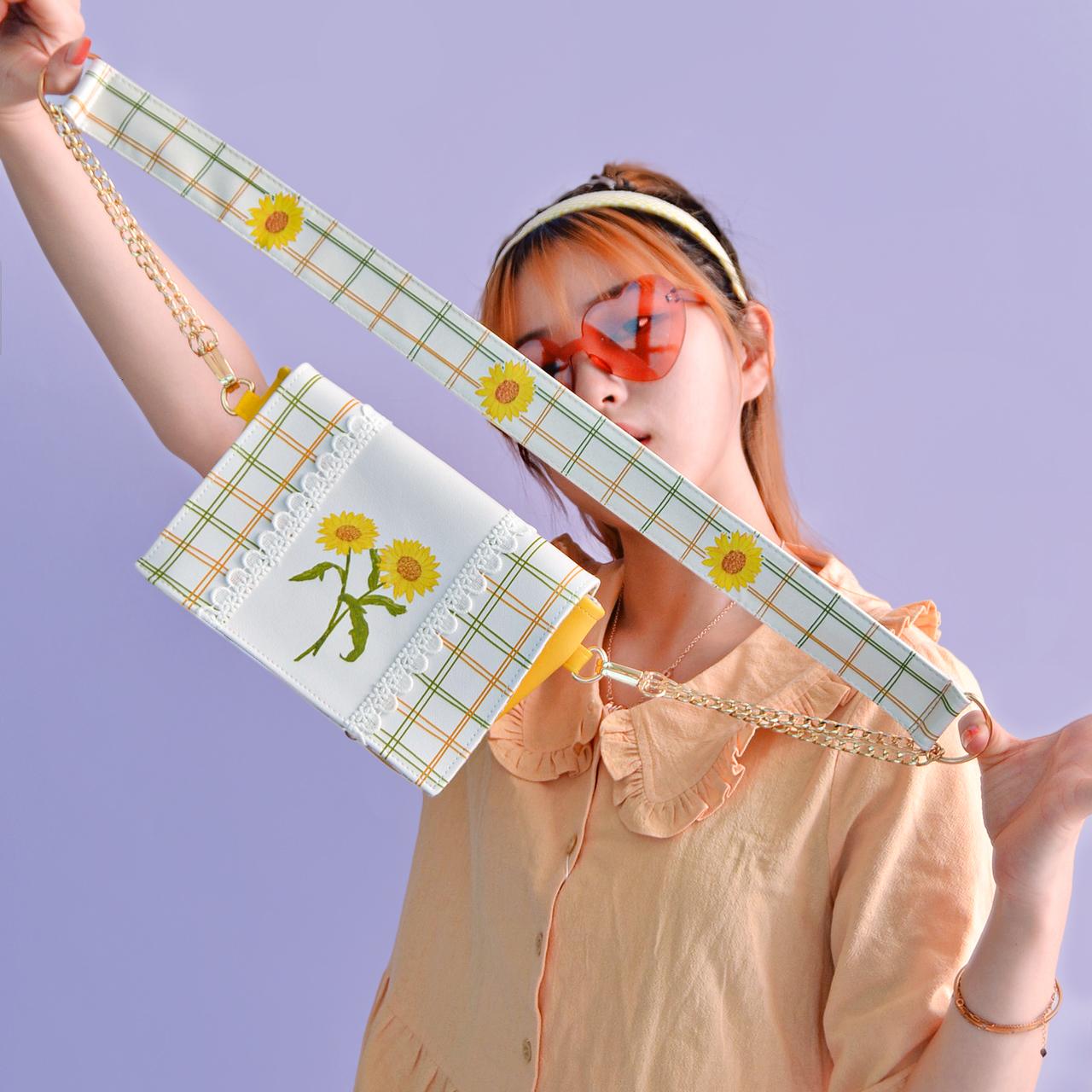 原创向日葵夏季小包包�0�2可爱小清新包包女斜挎夏天学生百搭斜