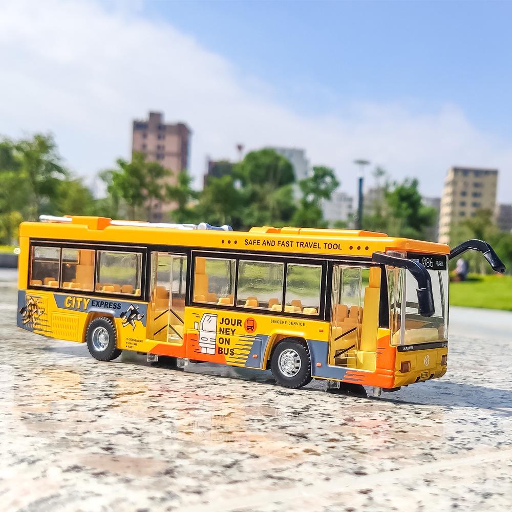モノレールシティバスの子供用合金バスのおもちゃモデルの音響光学自動車澄海卸売