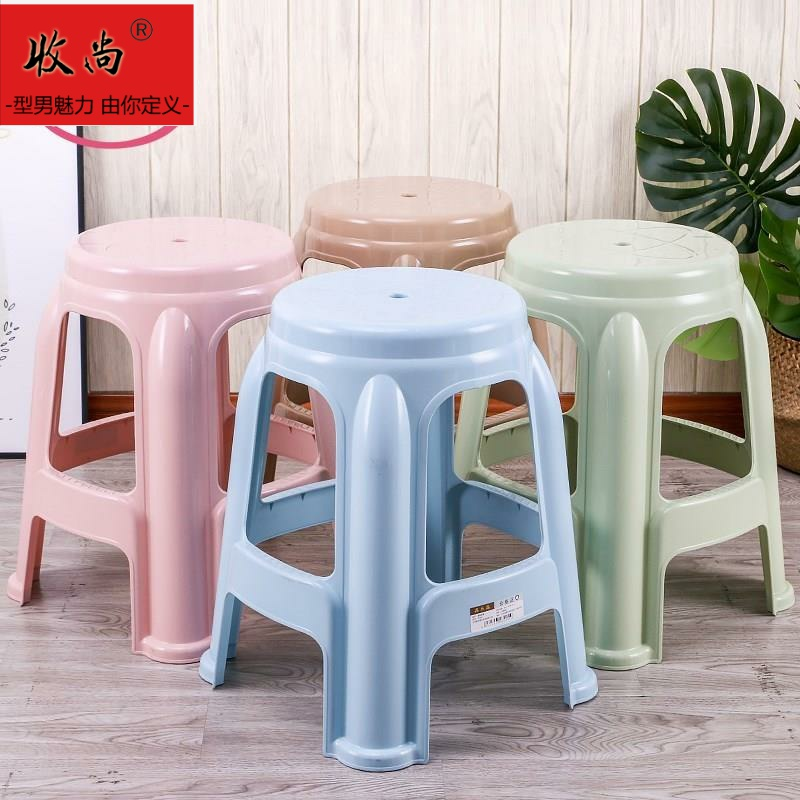 Wearable stackable lazy plastic stool 50cm rectangular high stool apartment Noodle Shop Blue widened solid in summer