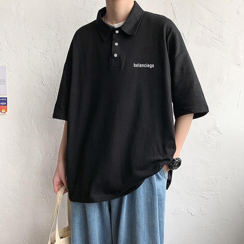 2021短袖t恤男潮流夏季男装衬衫领男士polo衫半袖ins青年百搭上衣