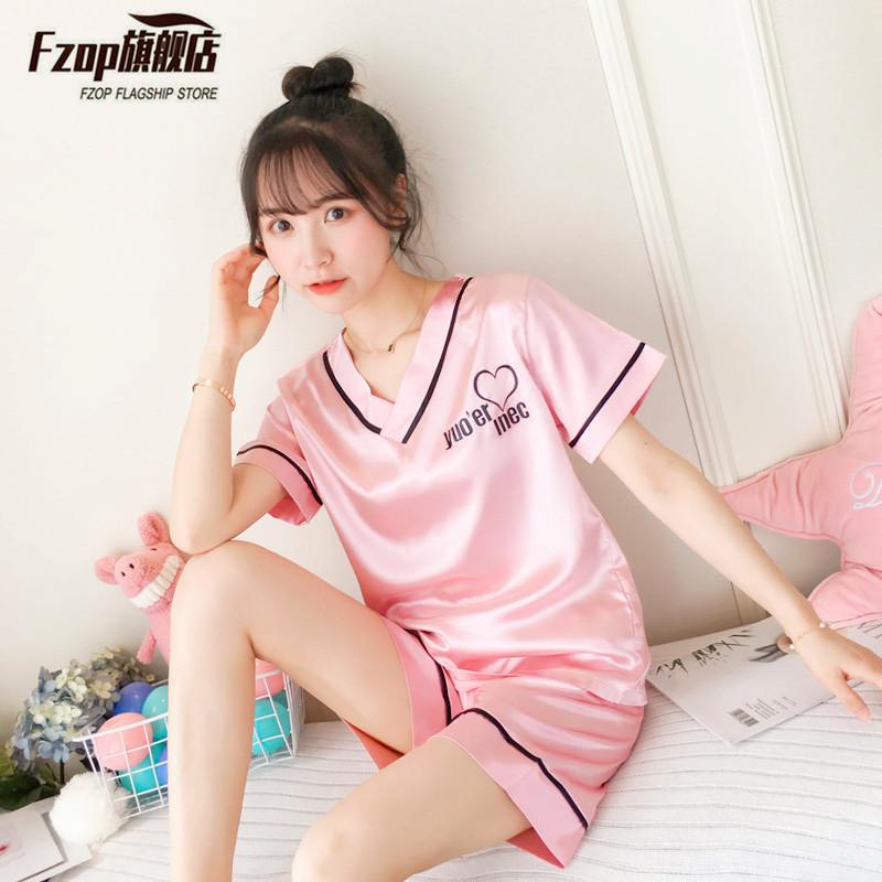 fzop两件套装睡衣女夏季薄款冰丝短袖韩版甜美可爱女士真丝家居服