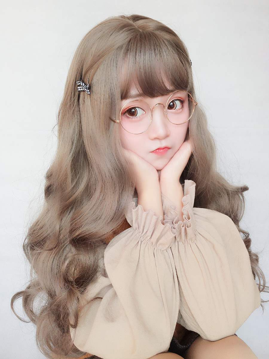 High grade wig female long curly hair big wave net red lovely Lolita round face Student Korean version fluffy face natural