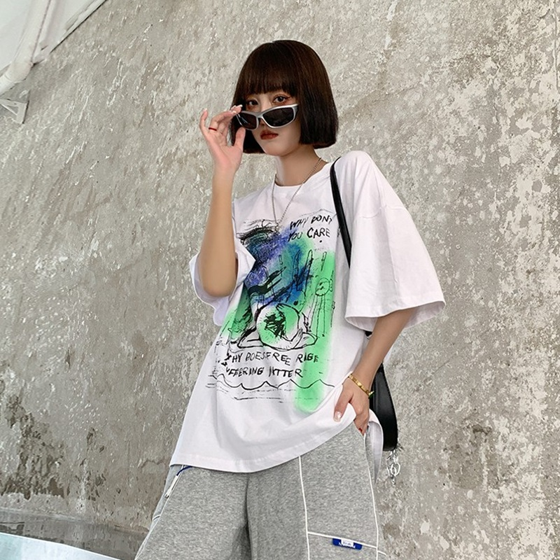 Baiziai 2021 summer half sleeve loose solid color printing short sleeve female student oversize cotton T-shirt male couple