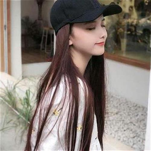 Hooded wig a female summer natural hat r hair in one