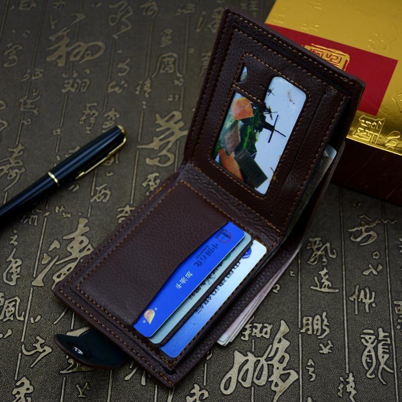 短款软皮男老人】青年钱包卡位多薄款磁扣时尚学生【夹钞票钱包
