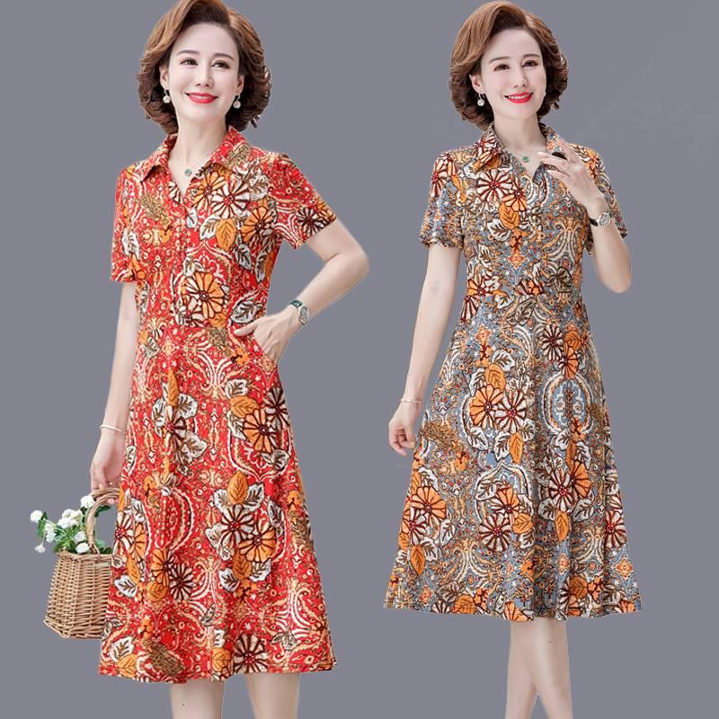 。妈妈夏天棉质连衣裙透气有兜中老年女装夏装翻领花色弹力裙子洋