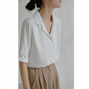白色v领短袖雪纺夏季衬衫