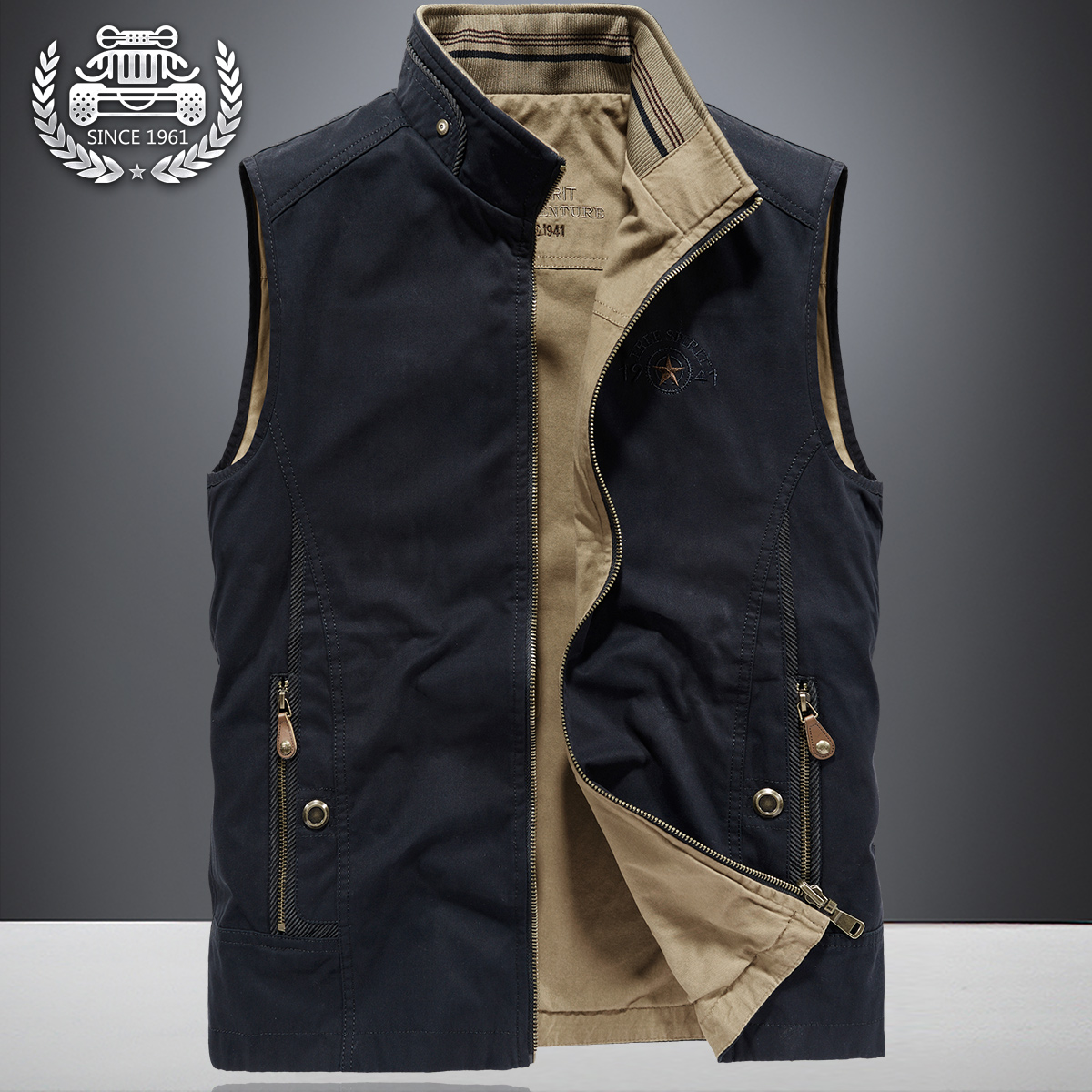 Spring double faced vest men's outdoor thin sleeveless vest denim jacket spring and autumn large loose tooling coat